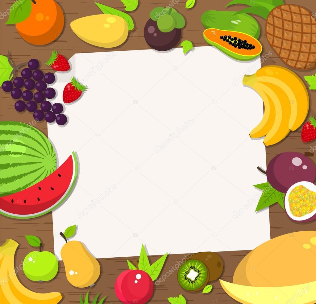 Fondo de marco de fruta fresca. Tarjeta, cartel, invitación ...