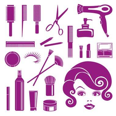 Beauty salon. Hair icons