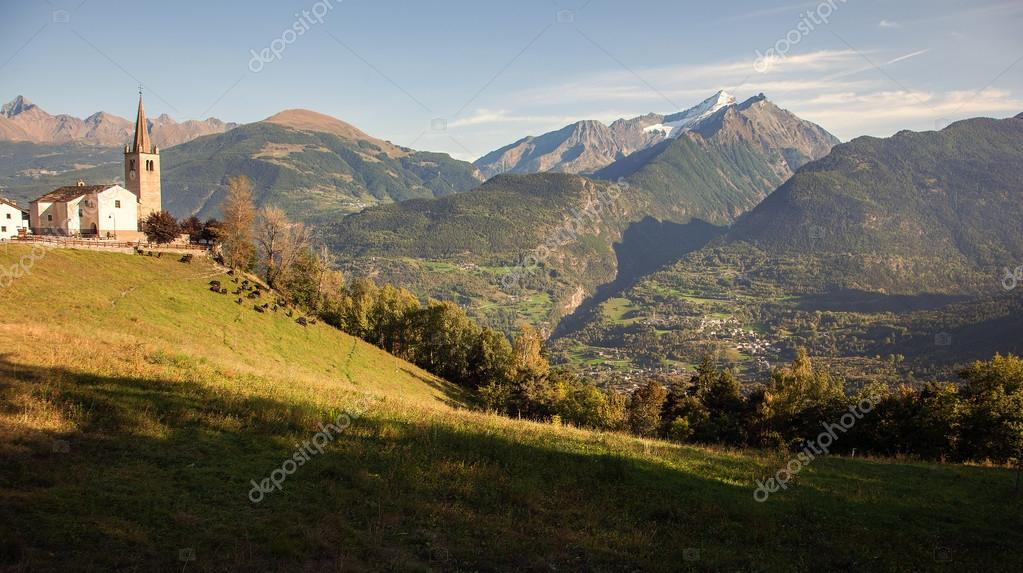 Old church overlooking the Aosta Valley, Saint-Nicolas, Italy