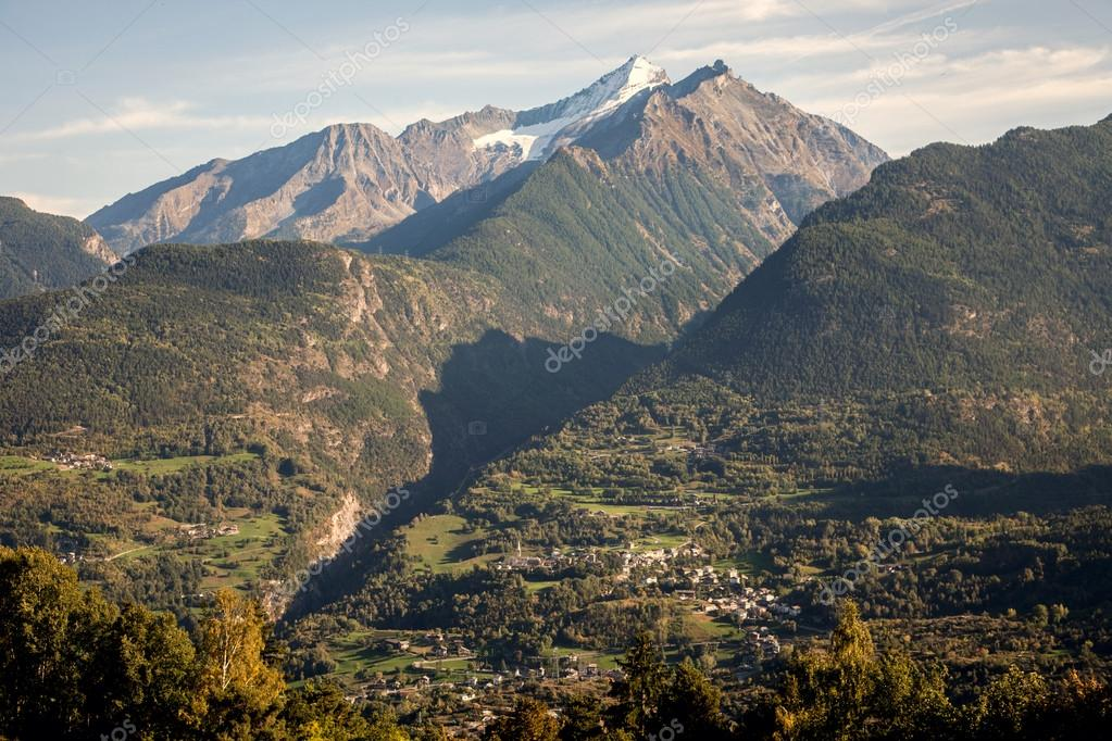 View of the Aosta Valley from Saint-Nicolas, Italy