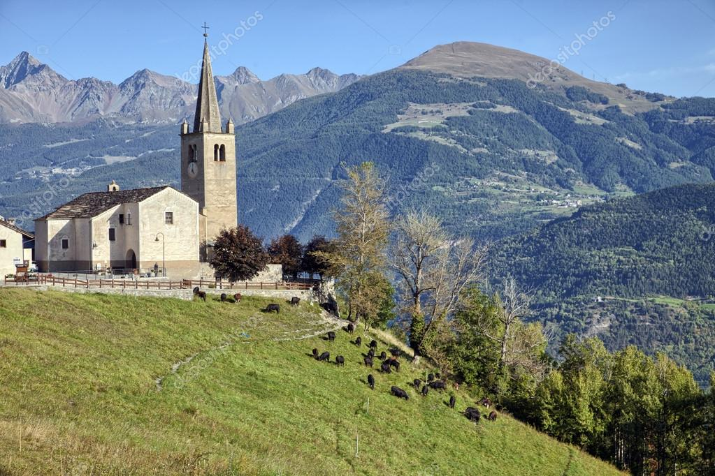 Old church overlooking the Aosta Valley, Saint-Nicolas, Italy