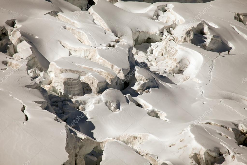 Italian winter. Glaciers and crevasses near Mont Blanc, Courmayeur, Val d'Aosta province,Italy