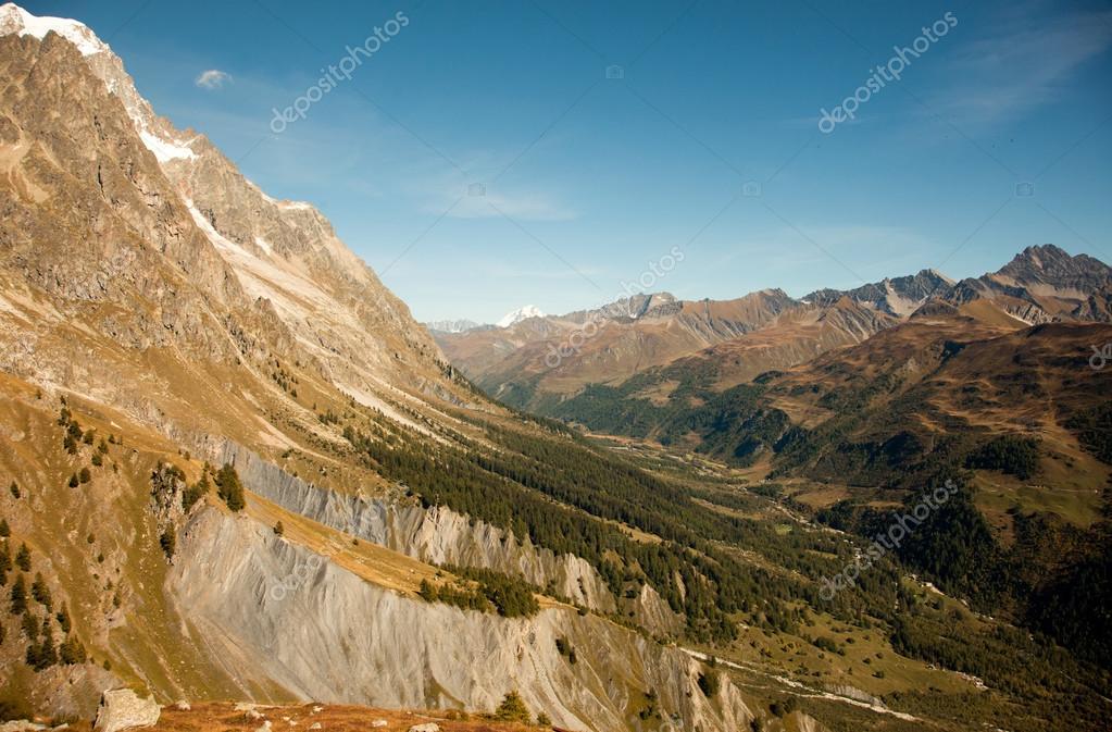 Italian summer. Mountain peaks and meadows near Courmayeur, Val d'Aosta province,Italy