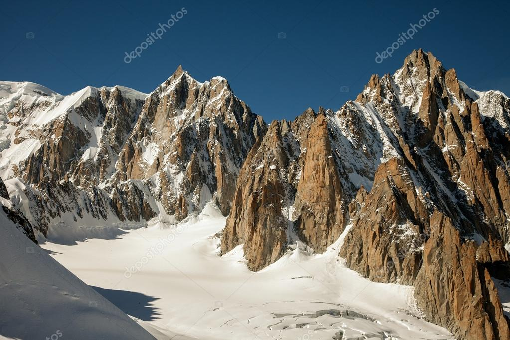 Italian winter. Mountain peaks and glaciers near Mont Blanc, Courmayeur, Val d'Aosta province,Italy