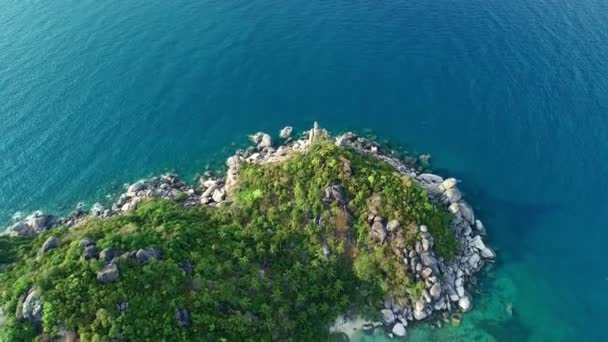 Amazing aerial view Top down drone shot of beautiful mountain seashore with tropical sea in summer season Location around Koh Tao island Concept travel and tour background and travel website