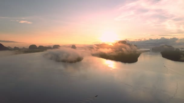 Aerial view drone shot of beautiful ocean against sky in the morning fog mist sunrise drone is flying over sea and mangrove forest Landscape High angle view Dynamic aerial shot Amazing nature view