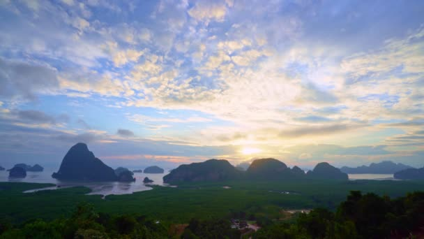 Aerial view Drone video Beautiful Samet Nangshe viewpoint over Phang Nga Bay scenic Landscape mangrove forest and mountains in Andaman sea Amazing drone camera footage nature background and website