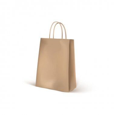 Brown craft eco shopping bag mockup. Realistic 3d shopping packaging blank isolated on white background. Brown bag packaging template. Vector icon