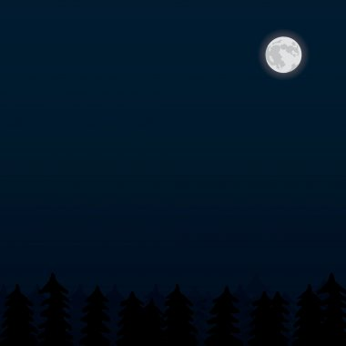 realistic moon and forest night