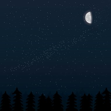 realistic moon with stars and forest night