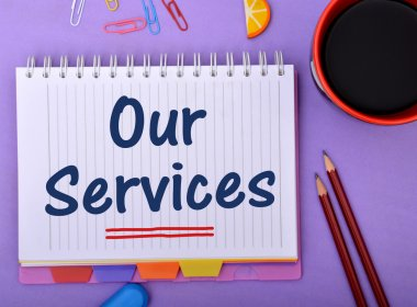 Our Services Web Button Style wrritten on notepad