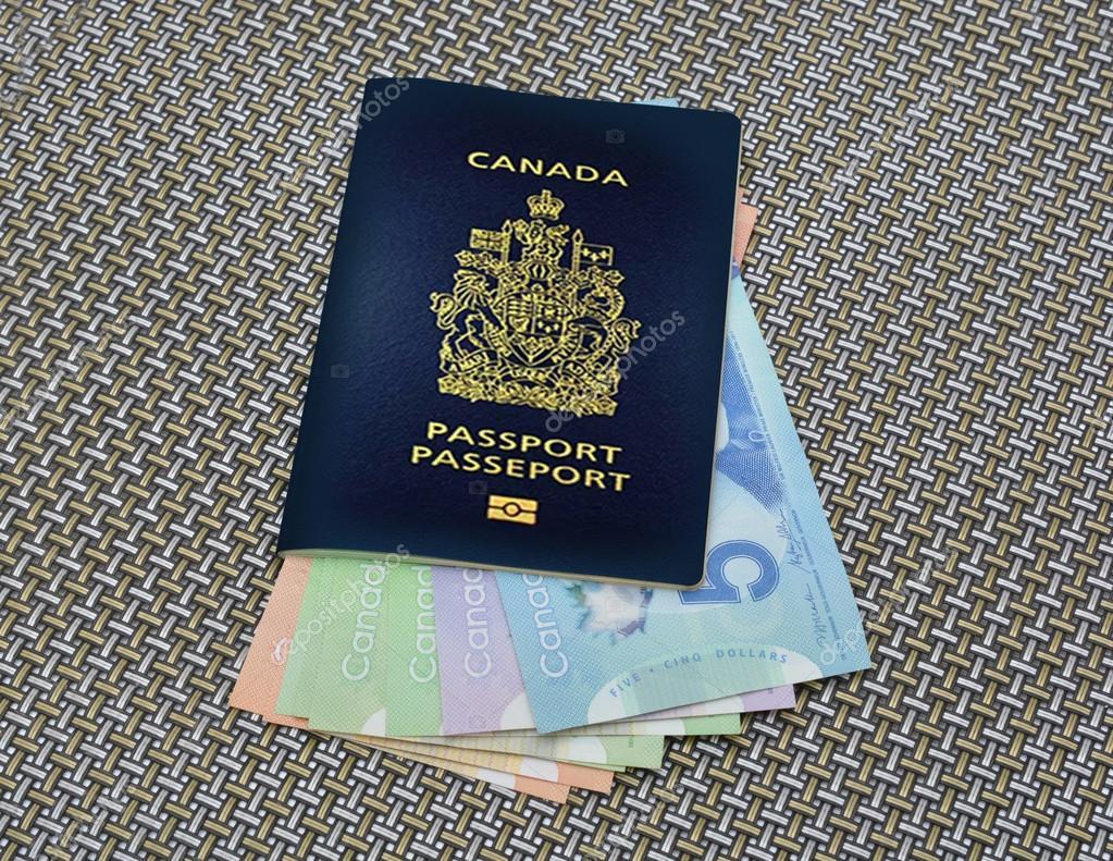Dinero dentro de pasaporte canadiense viajes concepto — Foto de ...