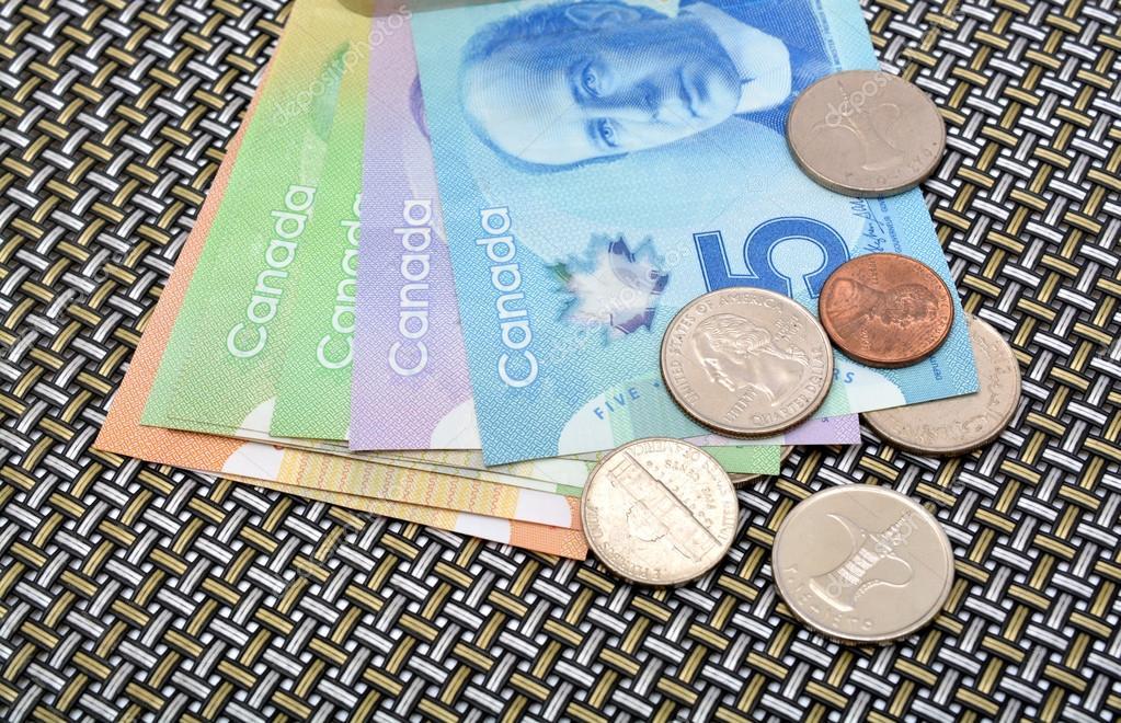 Kanadischer Dollar Währung Banknoten Und Münzen Stockfoto