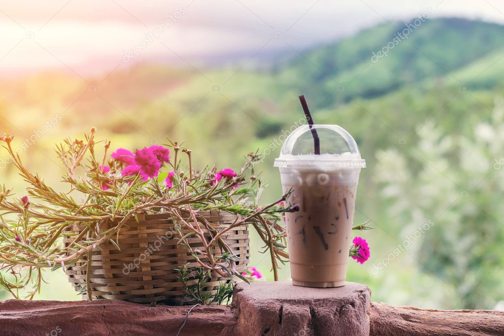 ice coffee in plastic cup