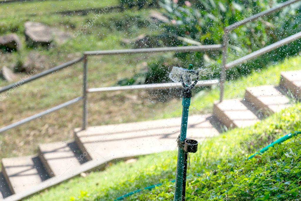 Sprinkler in the park.