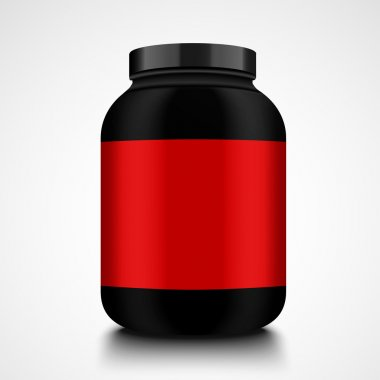 Black jar. Mockup food jar for fitness with food additive protein