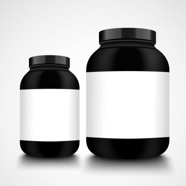 Black jars. Packaging Bottle mockup