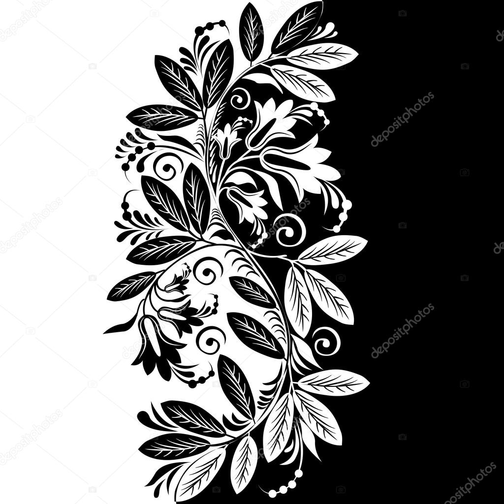 Abstract Black White Floral Background Vector Stock Vector