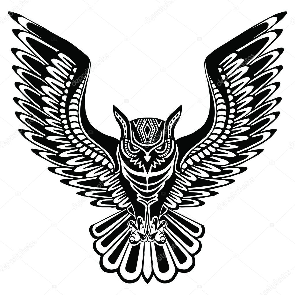 flying owl black silhouette with a pattern on the body hand drawing in ethnic style tattoo design vector by lisa_reinke
