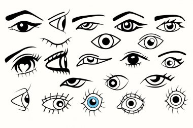 Collection of eyes, different of eyes for designs over white background.