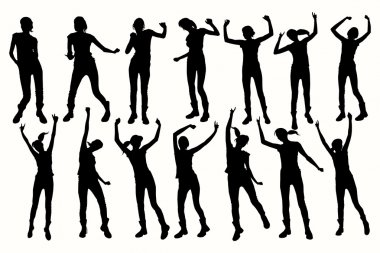 Vector Dancing Girl Silhouettes.