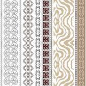 Fotografie nahtlose Seidentapete mit antiken Mäandern, Streifen im Boho-Stil und Zebrafell-Print.