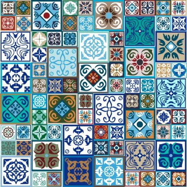 Mega set of ceramic tiles with oriental print. Colorful vintage flooring with Moroccan, Spanish, Portuguese patterns floral and geometric patterns
