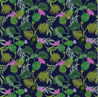 Victorian style seamless floral pattern with hand drawn burdock flowers and willow leaves.