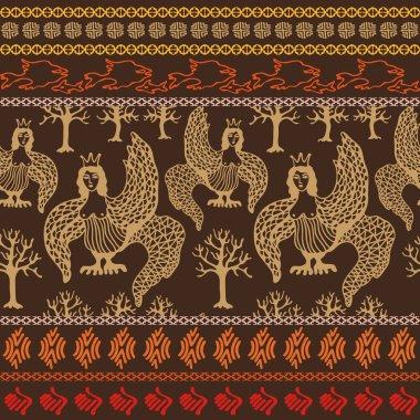 Magic forest. Set of seamless ethnic borders. Folk art motif, boho elements.