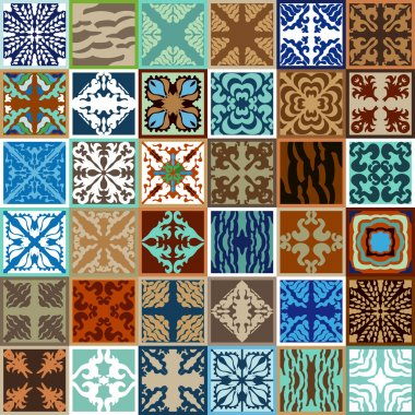 Mega set of glazed ceramic tiles. Abstract vector background with bohemian elements, geometric ornaments and floral patterns.