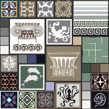 Mega set of ancient Greece patterns. Columns, meanders, octopuses, fishes, sea monsters, ceramic tiles with geometric ornaments.