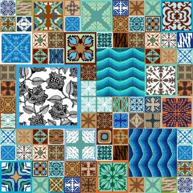 Gorgeous mega set of ceramic tiles, mosaics, rose seamless pattern. Abstract vector background.