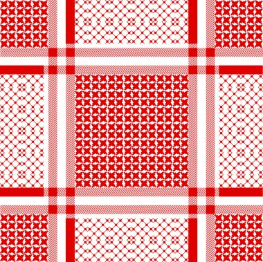Squared keffiyeh vector pattern with geometric motifs.