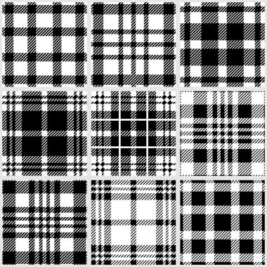 Set of checkered black and white seamless patterns.