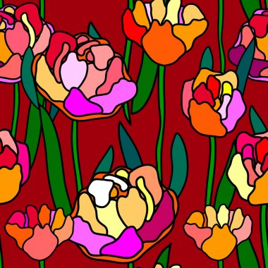Stained glass style floral seamless pattern.