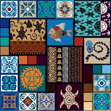 Mega set inspired by tattoo maori arts. Boho style seamless patterns. Hand drawn tortillas, fish, sun, snakes.