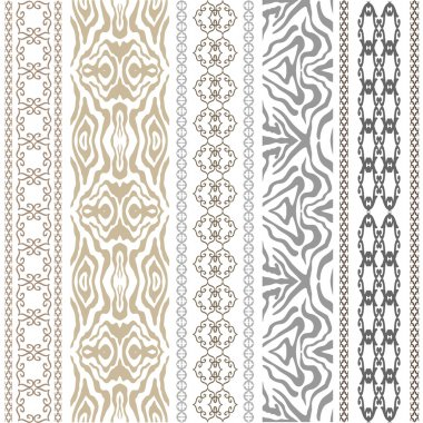 Vintage seamless wallpaper with fantasy ethnic motifs and animal print.