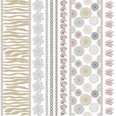 Set of seamless ethnic pattern. White background. Tiger skin print, paisley border, geometric stripes, rose scrolls, mandalas, doodle.