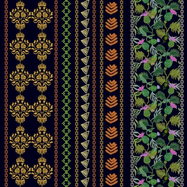 Set of Victorian embroidery borders with bohemian motifs. Hand drawn seamless damask, burdock floral print, geometric stripes.