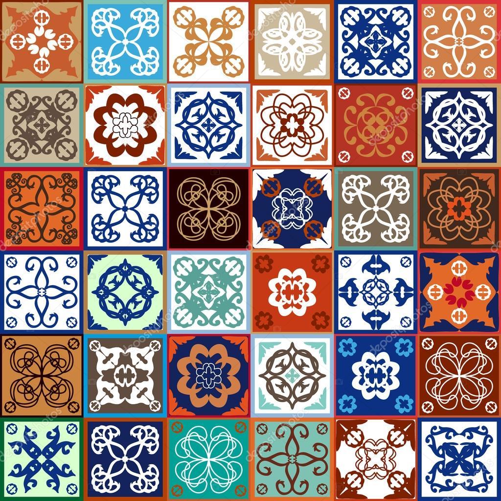 Glazed ceramic tiles mega set colorful vintage tiles with floral glazed ceramic tiles mega set colorful vintage tiles with floral and geometrical patterns spanish dailygadgetfo Images