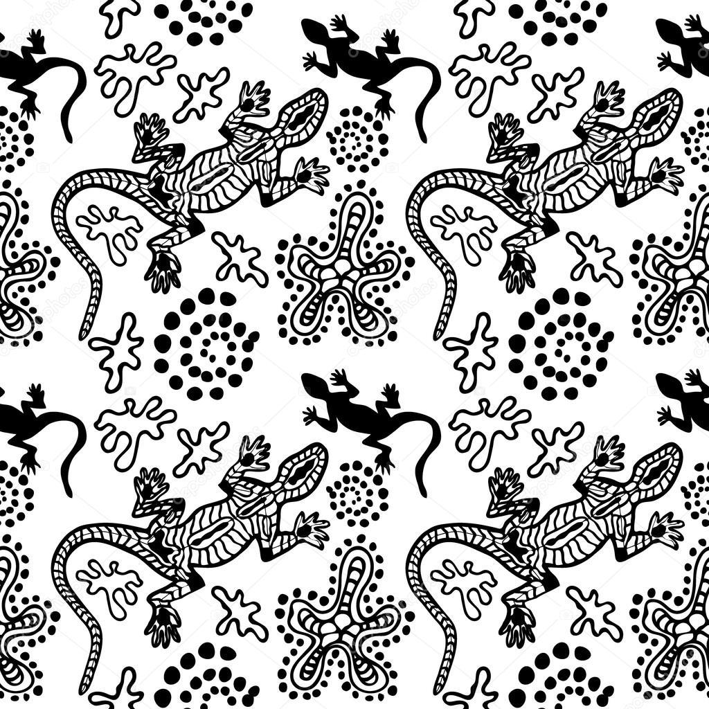 Patrón sin fisuras del estilo Boho con motivos de arte aborigen ...