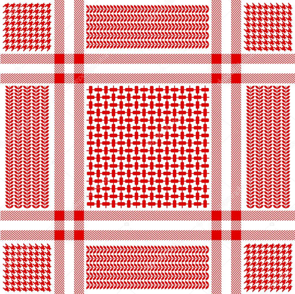 Squared keffiyeh vector pattern with geometric motifs
