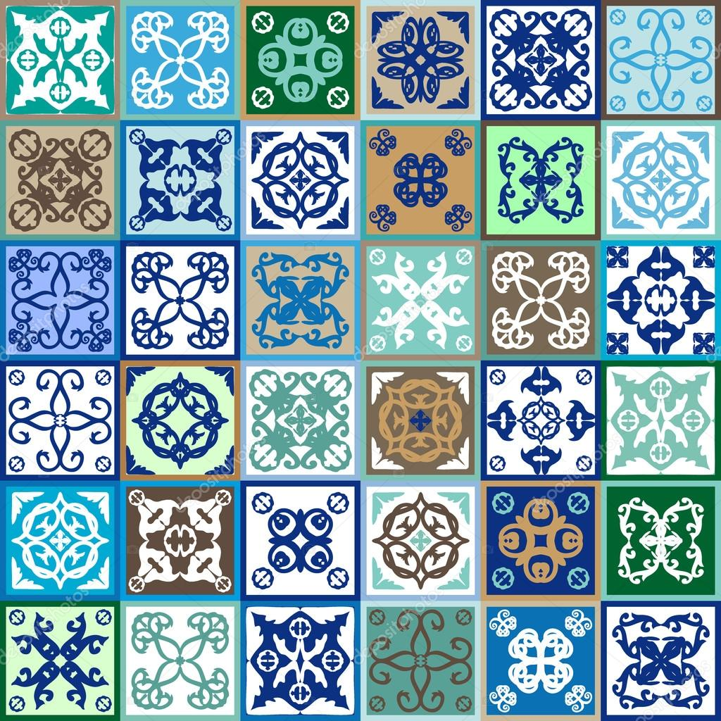 Mega set of ceramic tiles with ethnic, floral, geometric prints ...