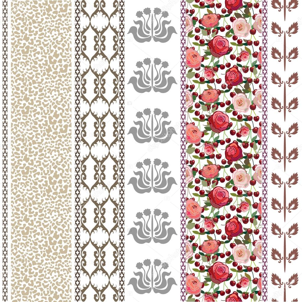 Abstract seamless vector. Ethnic collection. Silver and golden shadows on white.