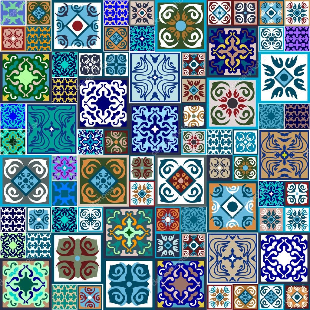 Mega set of ceramic tiles with fantasy print. Colorful vintage ...