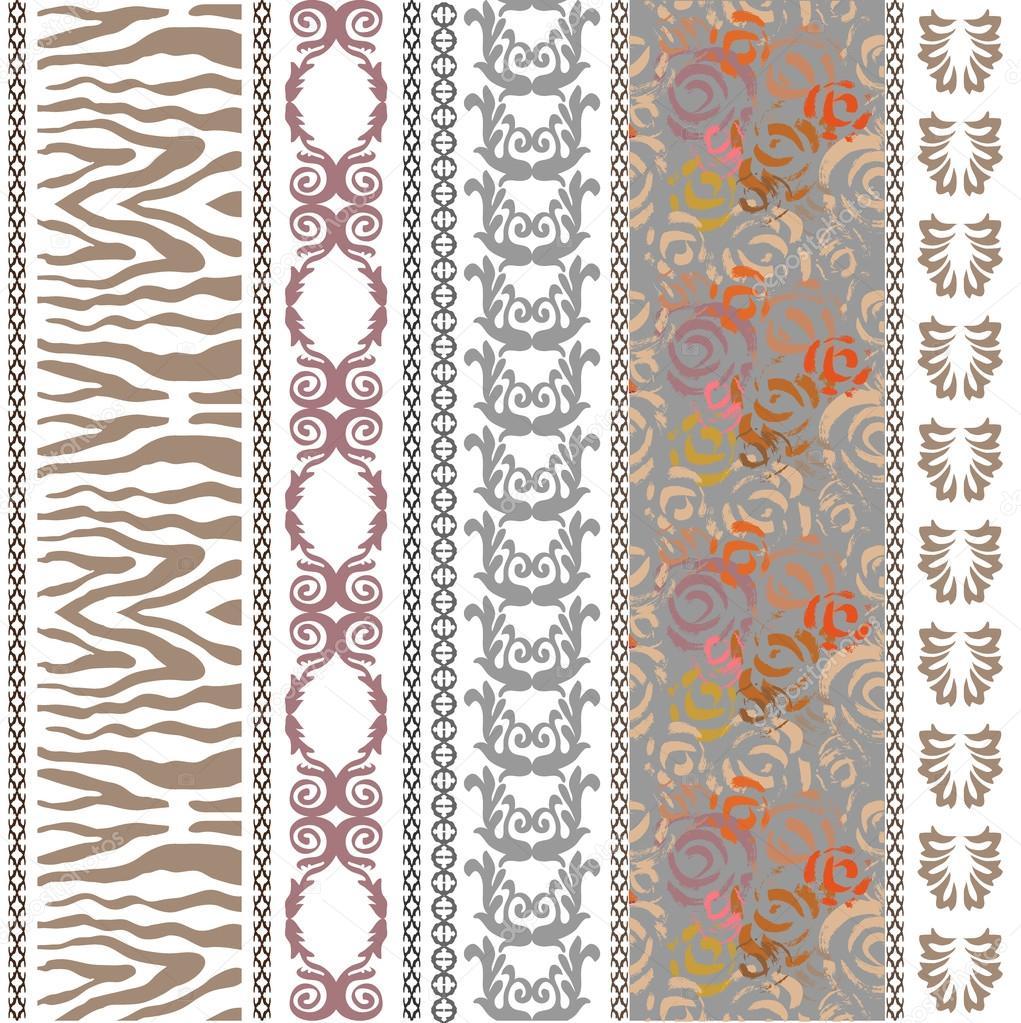 Lujo vintage seda papel pintado con motivos tnicos y for Papel pintado cebra
