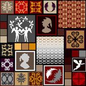 Fotografie Mega Set Barock nahtlose Muster und Design-Elemente. Engel, Porträts, Federn, floralen und geometrischen Ornamenten