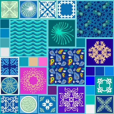 Water patterns mega set. Sea waves, seabed, seamless peacock feathers print, ceramic tile elements. Bohemian colorful style mosaic.