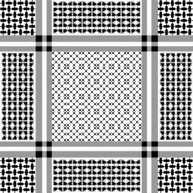 Squared keffiyeh vector pattern with geometric motifs.