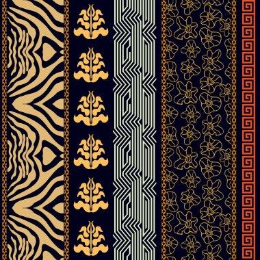 Art Deco vintage silk wallpaper with ancient Greece and Rome motifs. Zebra print, damask borders, meander, floral pattern, boho elements.